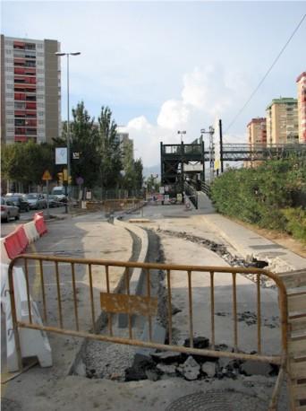 L'obra de la passarel·la el dia 4 de setembre de 2008