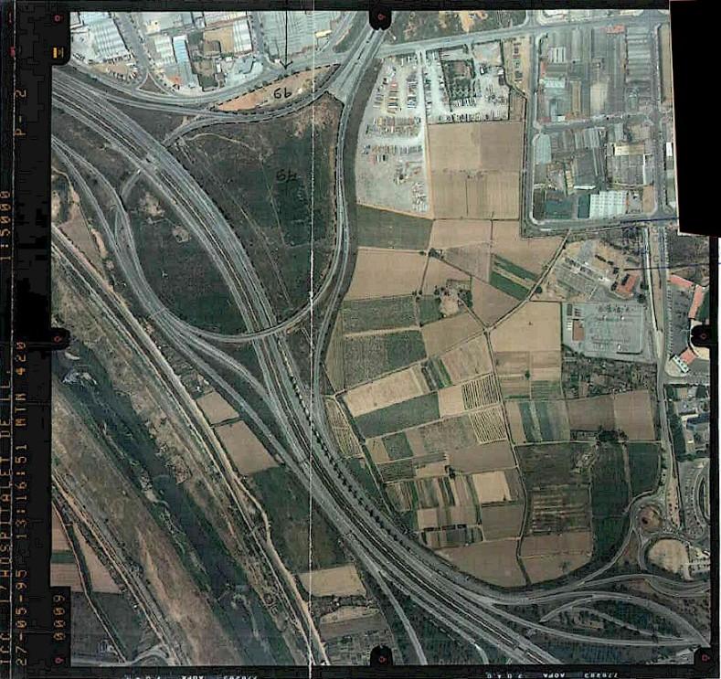 Sector de Cal Trabal a l'any 1995. encara no exisitia ni la deixalleria, ni el parc de sanejament, ni la gossera municipal.