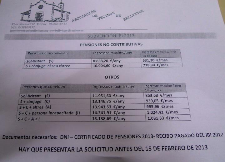 Subvencion del ibi 2013