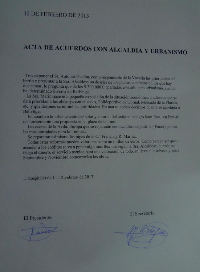Acta de Acuerdos con la Alcaldía y Urbanismo