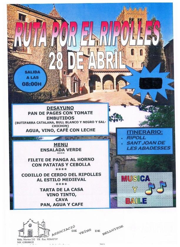 Excursion de la A.V.V.El dia 28 de Abril de 2013 Inscripcion desde el dia 9 al 22 de Abril 2013 Precio Socios 27 € No Socios 33 €