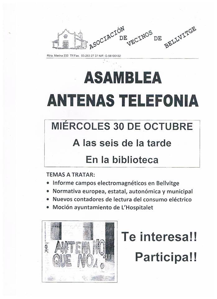 Asamblea antenas telefonia miercoles 30 de octubre  a las 18:00 horas en la biblioteca